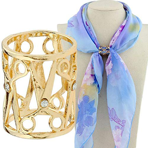 (Rhinestone Hollow Out Tube Scissor Shape Scarf Shawl Fasten Holder Ring | Color - Gold)