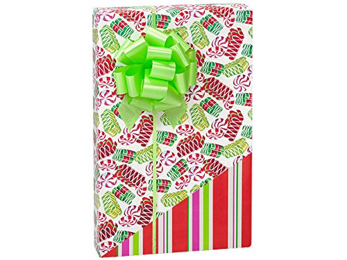 NW13033H24 * Ribbon Candy (reversible) 24''x 417' Recycled Gift Wrap Counter Roll by Nashville Wraps