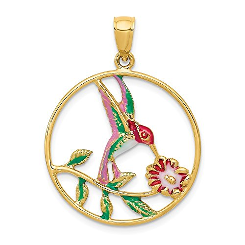 Mia Diamonds 14k Solid Yellow Gold Enameled Hummingbird and Flower Round Frame Pendant (31mm x 23mm)
