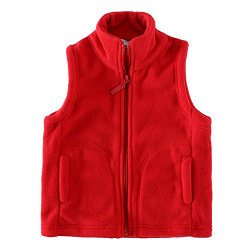 LittleSpring Toddler Boy' Fleece Vests Zipper Solid Red 4T