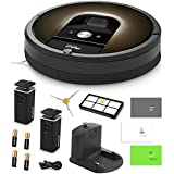 iRobot Roomba 980 Vacuum Cleaning Robot + 2 Dual Mode Virtual Wall Barriers (With Batteries) + Extra Side Brush + Extra HEPA Filter + More