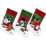 Keynew 3D Christmas Stocking Cute Santa Snowman Reindeer Toys Set of 3