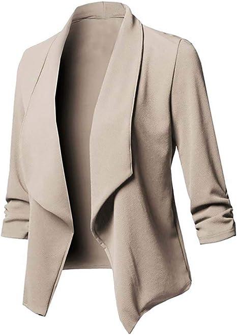 Langarm,3//4 Arm WanYangg Damen Blazer Elegante,Sakko Einfarbig Blazer Tailliert Cardigan D/ünn Slim Fit Anzug Trenchcoat EIN Knopf B/üro Jacke D/ünn