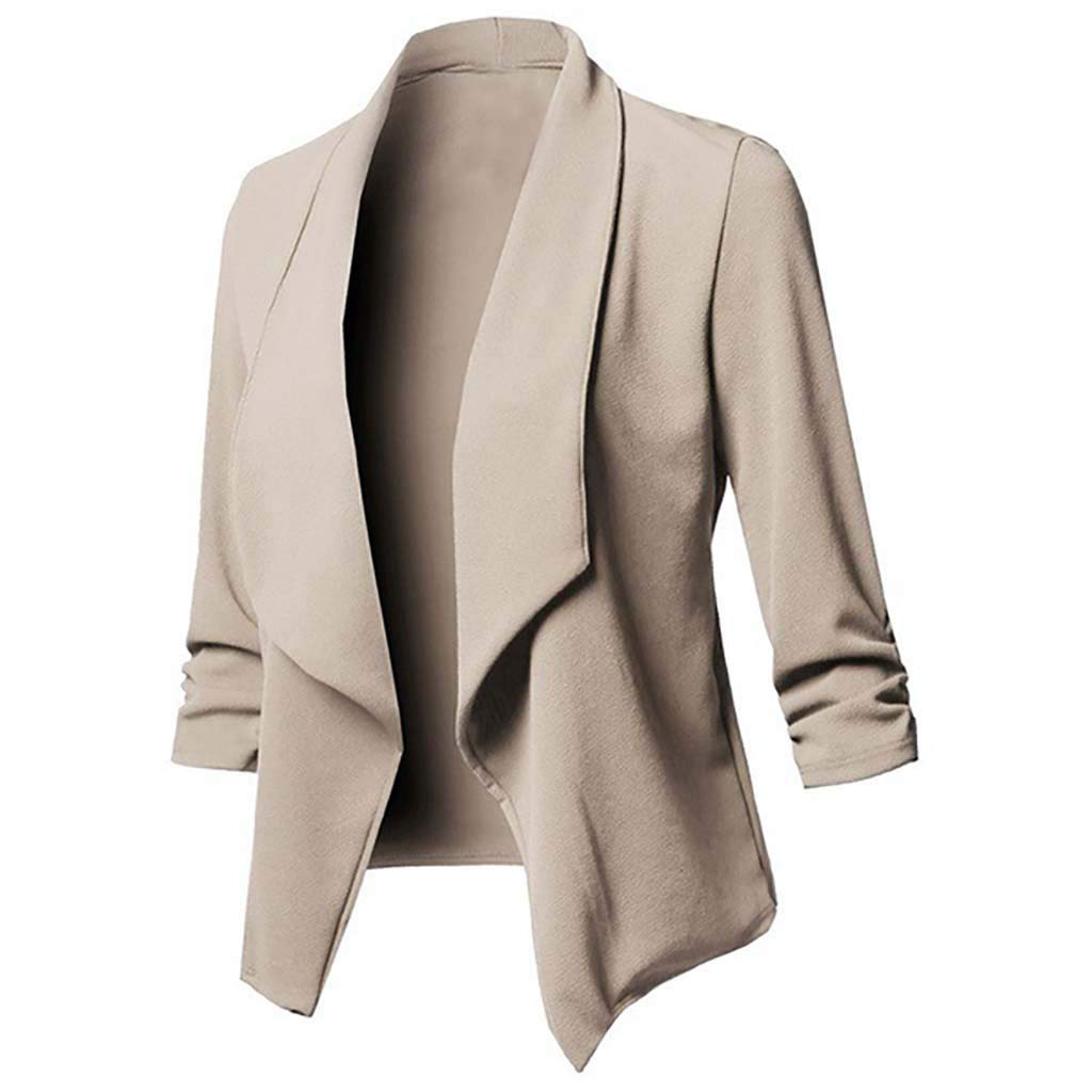 Coupondeal Womens Solid Open Front Cardigan Long Sleeve Blazer Casual Jacket Coat(Khaki,XL) by Coupondeal