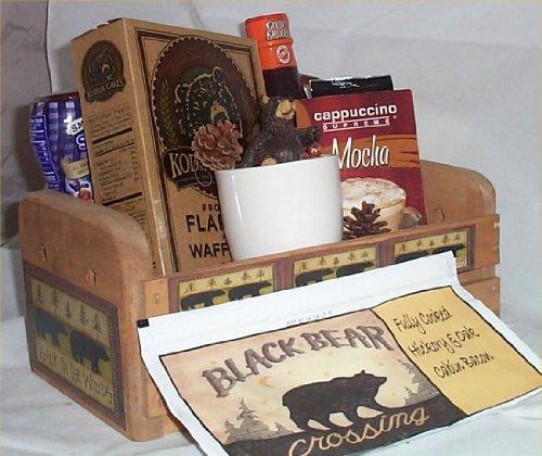 Bear Kodiak Pancake Breakfast Wood Crate Gift Basket Bacon Coffee Mug Syrup Jam Mens or Family
