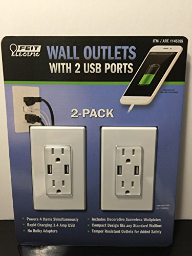 Feit Electric Wall Outlets With 2 USB Ports