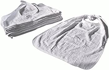 Linteum Textile Terry ADULT BIBS with EZ-Tie Closure 22x36 in. 12-Pack White