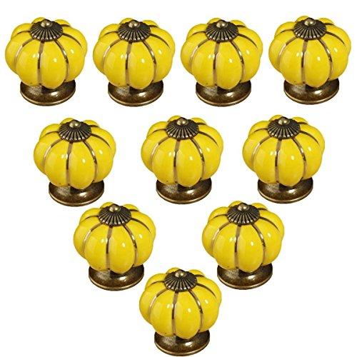 10pcs Antique Pumpkin Ceramic Door Knobs, Handles Pulls for Cabinets, Cupboard Dresser, Drawers, Kitchen Furniture or Kids Room (Lemon Yellow)