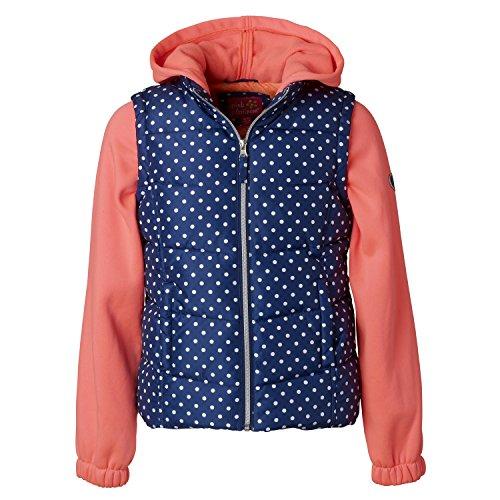 Pink Platinum Quilted Vest For Big Girls – Dot Print, Solid Fleece Hood & Sleeve