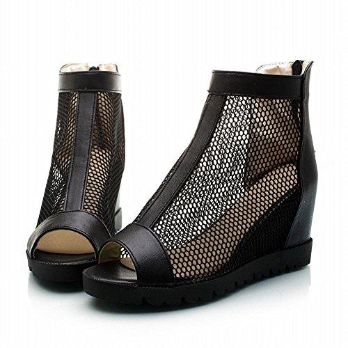 Charm Foot Womens Hidden Heel Peep Toe Summer Ankle Boots Black locD8K