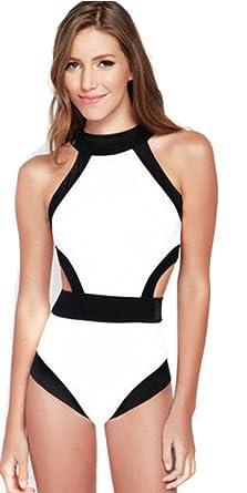 b5d7761be77 Amazon.com: Cute Black And White Womens One-piece Swimwear Bikini ...