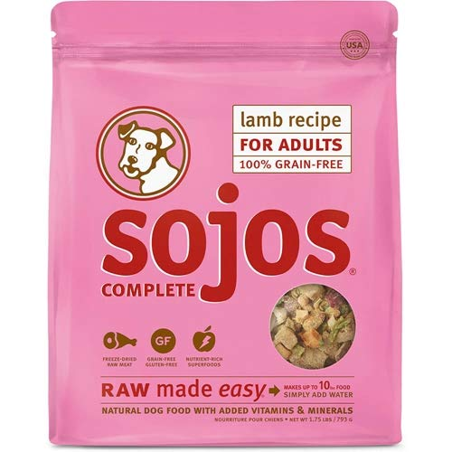 Sojos Complete Natural Grain Free Dry Raw Freeze Dried Dog Food Mix, Lamb, 2-Pound Bag
