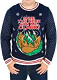 Men's Christmas Vacation 'Save The Neck For Me Clark' Sweater (Blue) - Ugly Holiday Sweater (X-Large)