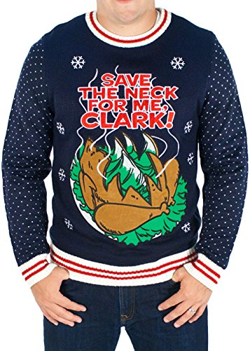 Men's Christmas Vacation 'Save The Neck For Me Clark' Sweater (Blue) - Ugly Holiday Sweater (Small)