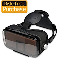 SMAVR 3D VR Immersive Headset Glasses, Virtual Reality Viewer Helmet Goggles, Private Theater for Movie & Games. Adjustable Pupil, Fit for Most Users via iOS & Android Phone within 4.7-6.2 (Black)