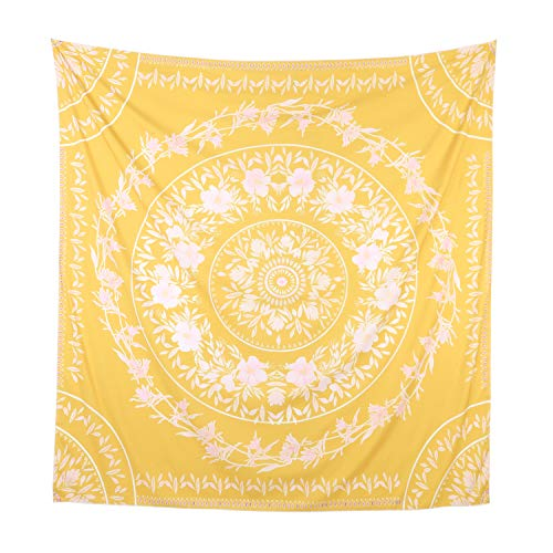 "Simpkeely Sketched Floral Medallion Tapestry, India Yellow Wall Art Mandala Bohemian Hippie Wall Hanging Tapestries for Dorm Home Decoration 59"" x 59""-Yellow ()"