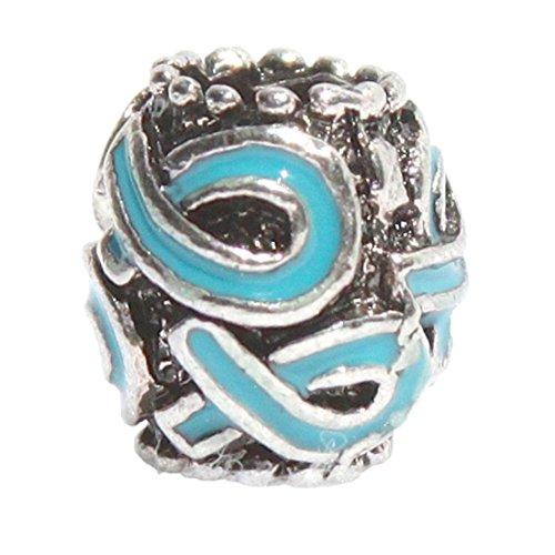 Teal Multi Ribbon Charm Fits Pandora Style Bracelets -