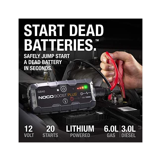 NOCO Boost Plus GB40 1000 Amp 12-Volt UltraSafe Portable Lithium Jump Starter  Car Battery Booster Pack  And Jumper Cables For Up To 6-Liter Gasoline And 3-Liter Diesel Engines