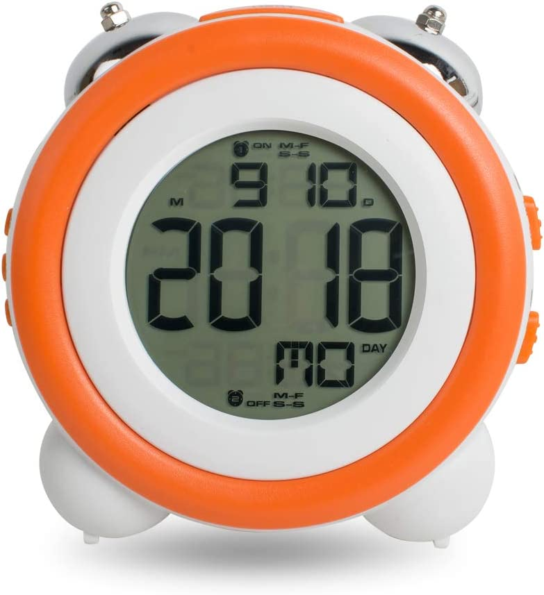 Kids Alarm Clock,Double Bell Alarm Clock With Snooze for Kids Orange Lolicute Stay-In-Bed Light Clock Students,Teaches Child When Ok-to Wake Up