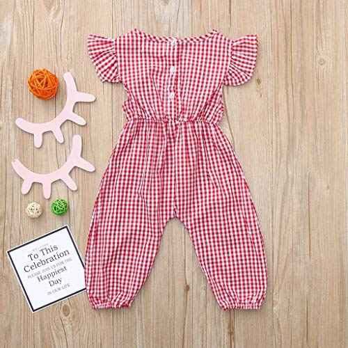 2382911a827c Amazon.com  Fashion Summer Romper For Toddler Infant Baby Girl Plaid  Ruffles Short Sleeve Bow Jumpsuit Bodysuit Onesie Outfit Coverall (Age 3-6  Months