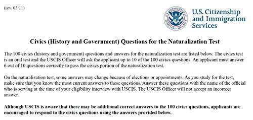 photograph relating to Printable United States Citizenship Test called : Civics (Background and Authorities) Queries for