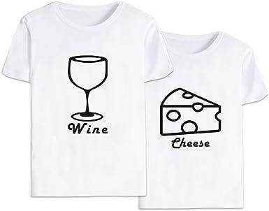 Mejores Amigas Shirt Dibujos Animados Best Friend Camiseta 100% Algodón 2 Piezas T-Shirt Manga Corta Impresión Camisa Hermana para Mujer Verano(blanco2+blanco2,Wine-XL+Cheese-XL): Amazon.es: Ropa y accesorios
