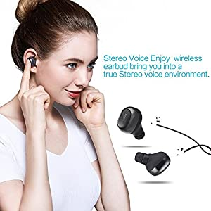Wireless Earphones with 12 Hours Music Time, Mini Wireless Bluetooth 4.1 Earbuds with Mic, Stereo In-ear Bluetoth Sports headphones for Smartphones, with a Portable Case for Charging and Storage