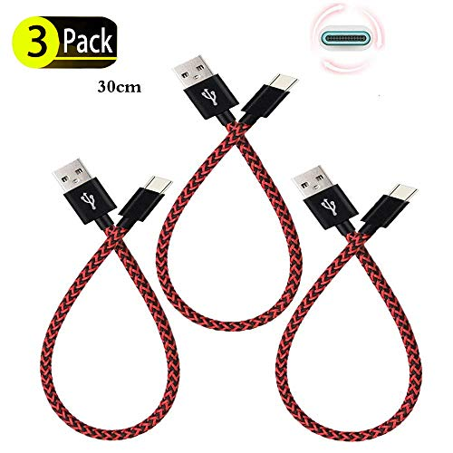Galaxy S9/S8 Plus Fast Charger Cable, SunCable [3Pack 1FT] [Short] Nylon Braided Fast Charging Cable for Samsung Galaxy S9,Note 8,S8 Plus,LG V30 V20 G6 G5,Google Pixel,Nexus 6P 5X (3Pack Black Red)