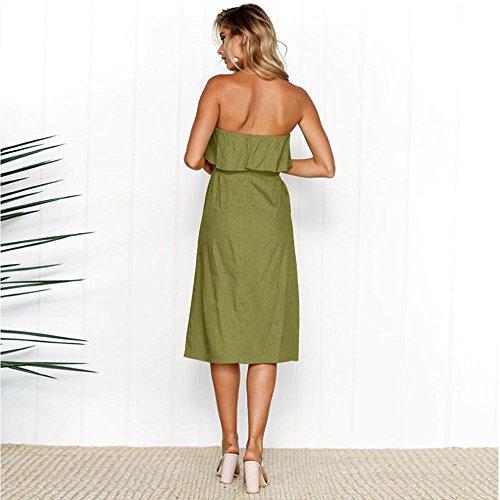 cintura con linea Spalla Una signore Verde Davanti 'Moda vestito Donna Orlare ALAIX Le casuale Pulsante increspatura qgwOafC
