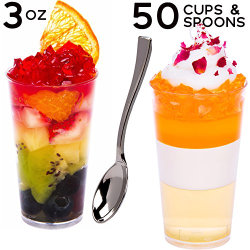 - SimpleHomeCo. 3 oz Mini Shooter Dessert Cups with Mini Silver Spoons [50 Sets] - Round, Appetizer Bowls, Disposable Tasting Glasses, Clear Plastic, Small Tumblers, Premium Quality, Catering Supplies