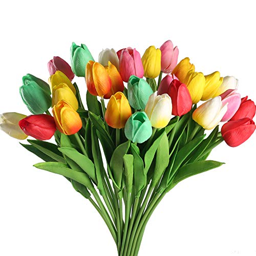 GTIDEA 30 Pack Artificial Tulip Flower Branch Latex Real Touch Fake Flores Wedding Bouquet Home Party Decor (MixColor) ()