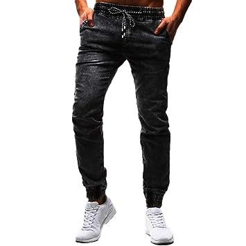 Hombre pantalones Vaqueros casual largos,Pantalones de ...