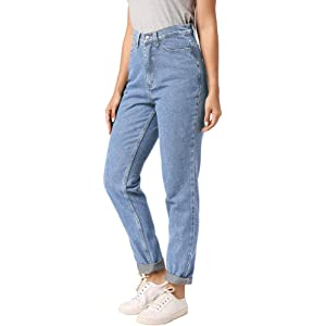 Romanstii Womens High Waist Mom Jeans, Boyfriend Straight ...