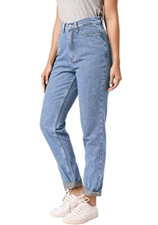 3c40fadfe ruisin High Waist Boyfriend Jeans for Women Vintage Sexy Mom Jeans Denim  Pants Light Blue 24