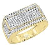 0.76 Carat (ctw) 18K Yellow Gold Round White Diamond Men's Flashy Hip Hop Ring 3/4 CT (Size 5)