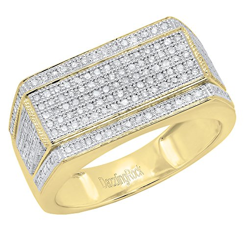0.76 Carat (ctw) 18K Yellow Gold Round White Diamond Men's Flashy Hip Hop Ring 3/4 CT (Size 5) by DazzlingRock Collection