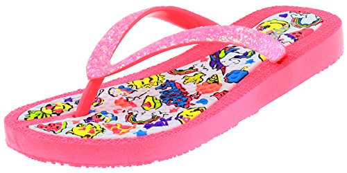 Capelli New York Girls Flip Flops with Crunchy Glitter and Emoji World Print Pink Combo 10/11