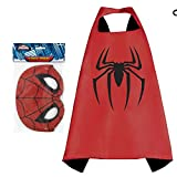 Honey Badger Brands Dress up Comics Cartoon Superhero Costume with Satin Cape and Matching Felt Mask (Spider-Man + 8 ct Party Masks)