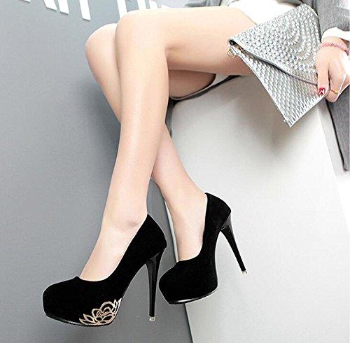 XiuHong Shop D-0002G Damen Hochhackige Schuhe Schwarz