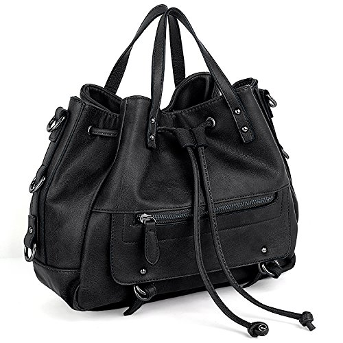 UTO Women PU Leather Shoulder Bag Medium Size Handbag Drawstring Closure Purse Satchel Bags Black by UTO