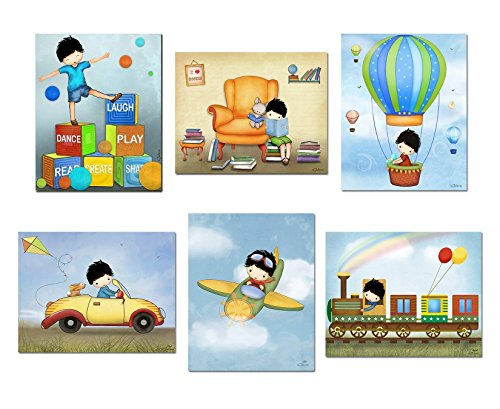 Children's Room Decor Personalized Boys Posters Airplane Car Hot Air Balloon Train Unframed Art