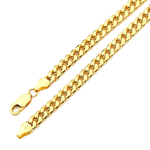 LOVEBLING 10K Yellow Gold 6mm Miami Cuban Link Chain Bracelet Lobster Lock (Available in Lengths 8