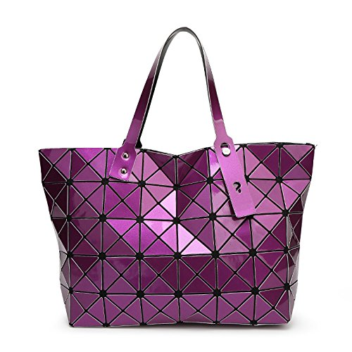 Meoaeo Violet Plegable Geométrica Bolsa Diamante Rosa fqOBF