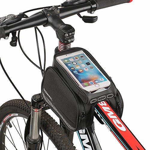 Fahrrad Rahmentaschen, Spalyer Fahrradtasche Rahmentasche Frarradschnalletasche für Handy mit Größe unter 5,5,Schwarz