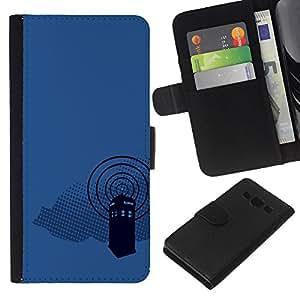 Protector de cuero de la PU de la cubierta del estilo de la carpeta del tirón BY RAYDREAMMM - Samsung Galaxy A3 - Dr 0MS Cabina de teléfono