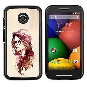 Qstar Arte & diseño plástico duro Fundas Cover Cubre Hard Case Cover para Motorola Moto E (Rosa del inconformista de la acuarela)