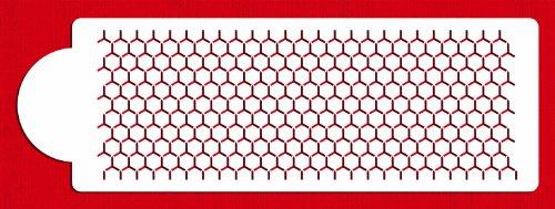 Designer Stencils C773 Honeycomb Cake Stencil Side, Beige/semi-transparent