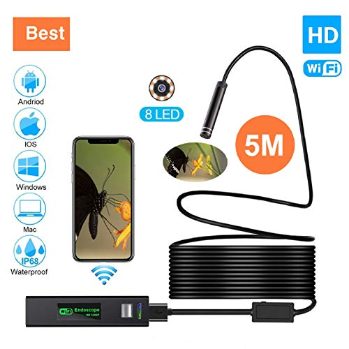 Wireless Endoscope, Waterproof Semi-Rigid USB Endoscope 8 LED Inspection Camera, 2.0 Megapixel HD...