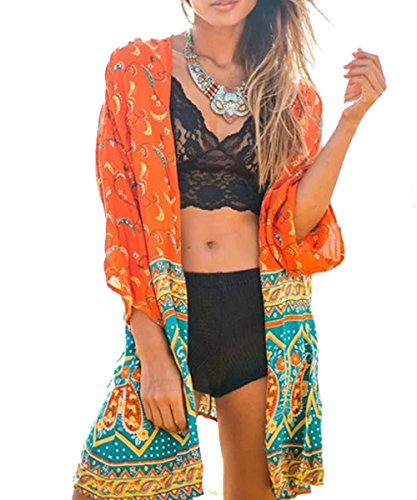 Top Kimono Floral (Relipop Women's Chiffon Blouse Loose Tops Beach Kimono Floral Print Cardigan (XX-Large, Orange))