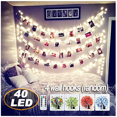 AbeyongD [ Remote&Timer] 40 LED Photo Clips String Lights,18ft USB Powered Fairy String Lights Hanging Photos Pictures Cards Memos, Ideal Gift Bedroom Decoration (Warm White by AbeyongD